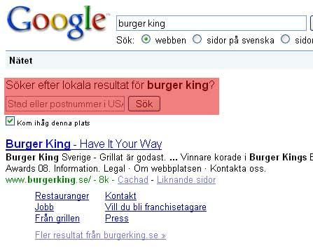 sökning på burger king