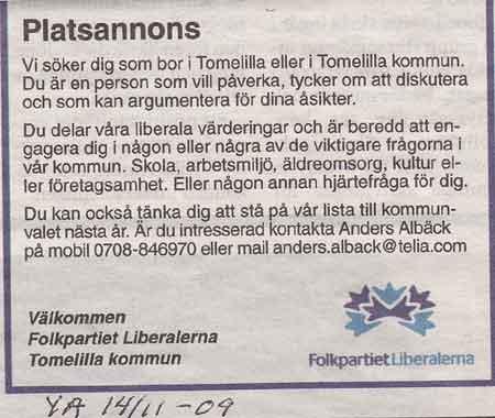 Platsannons från Ystad Allehanda